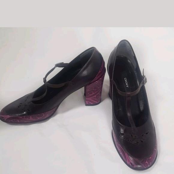 2fc4e2f3a4eb Dkny Shoes - DKNY Leather Purple T Strap Block Heel Shoes 10